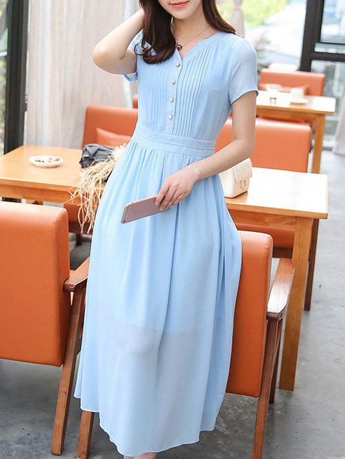 Stylish Women's V-Neck High Waisted Solid Color Dress - AZURE XL