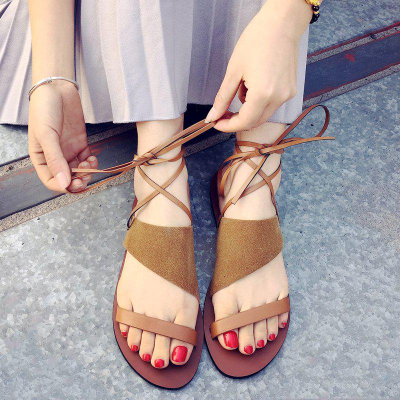 Retro Lace-Up and Suede Design Women's Sandals - YELLOW 39