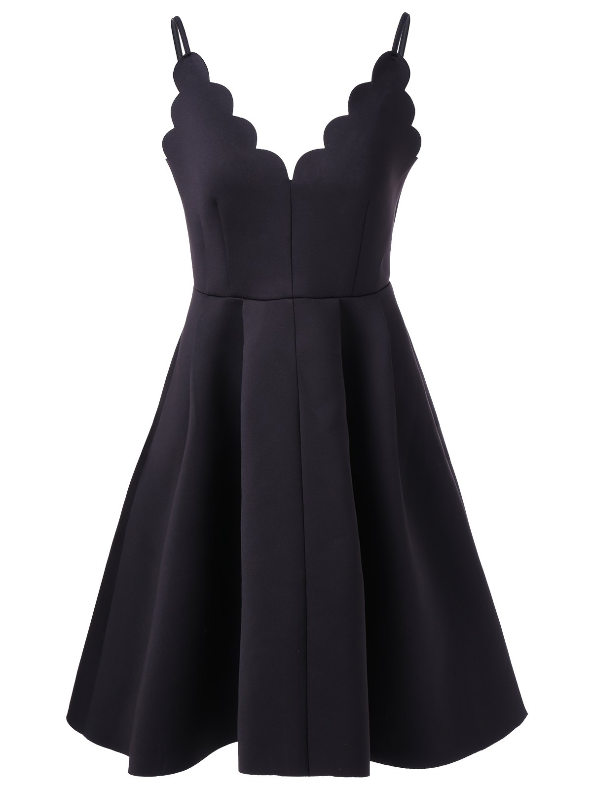 Scalloped A Line Flare Cocktail Slip Dress - BLACK XL