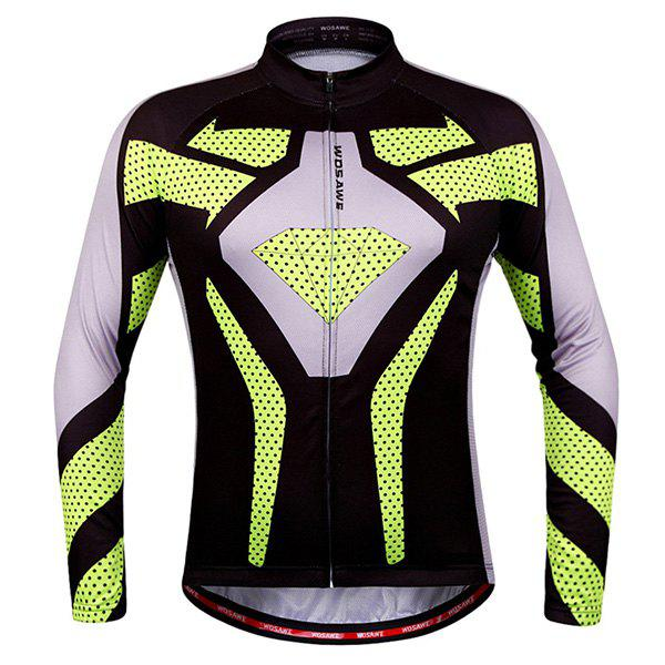 Chic Quality Polka Dot Pattern Breathable Quick Dry Cycling Long Sleeve Jersey For Unisex cycling set long sleeve jersey and bib pants 3d pad pro men anti sweat green fire ciclismo bike suit quick dry jersey bicicleta