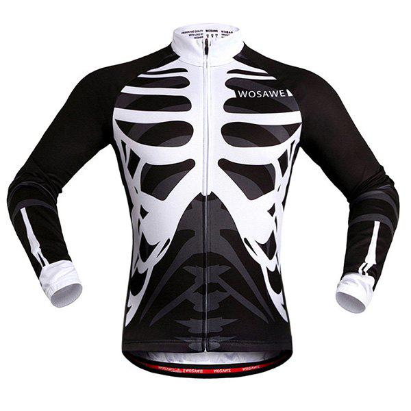 Fashion Skeleton Pattern Breathable Quick Dry Cycling Long Sleeve Jersey For Unisex - WHITE/BLACK 2XL
