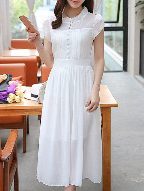 Ruffle Collar Chiffon Swing Dress - WHITE M