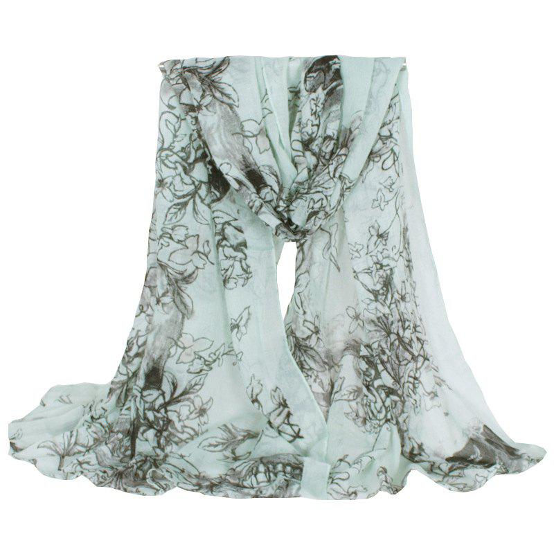 Chic Hemming Floral and Skull Printing Voile Scarf For Women - LIGHT GREEN