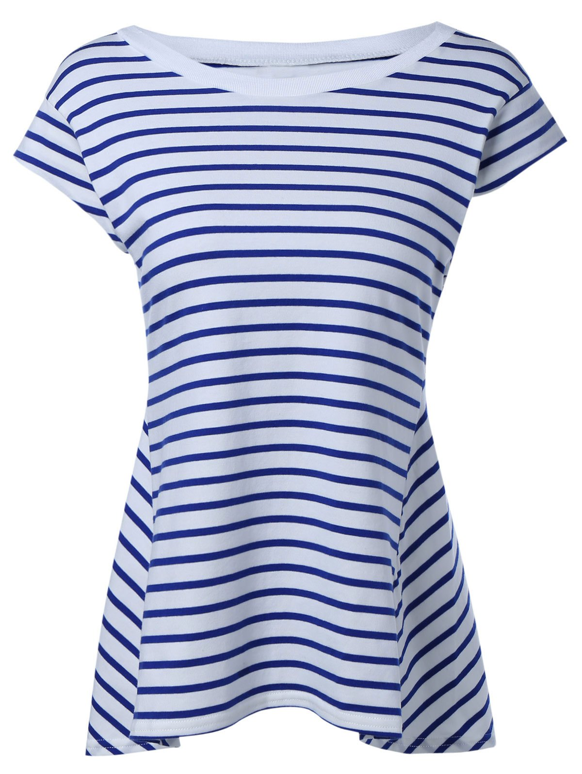 Trendy Striped Cap Sleeve High Low T-Shirt - SAPPHIRE BLUE XL