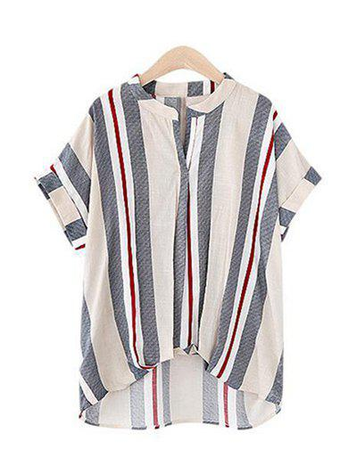 Pure and Plain Striped Asymmetrical Blouse - APRICOT M
