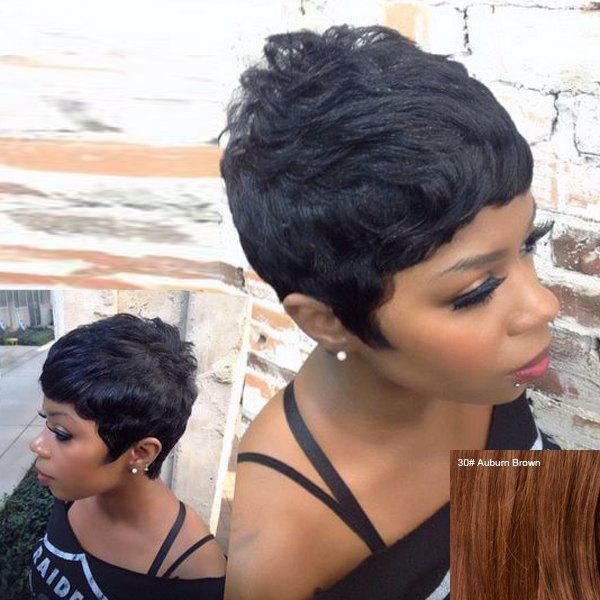 Fashion Women's Short Bouffant Neat Bang Human Hair Wig - AUBURN BROWN