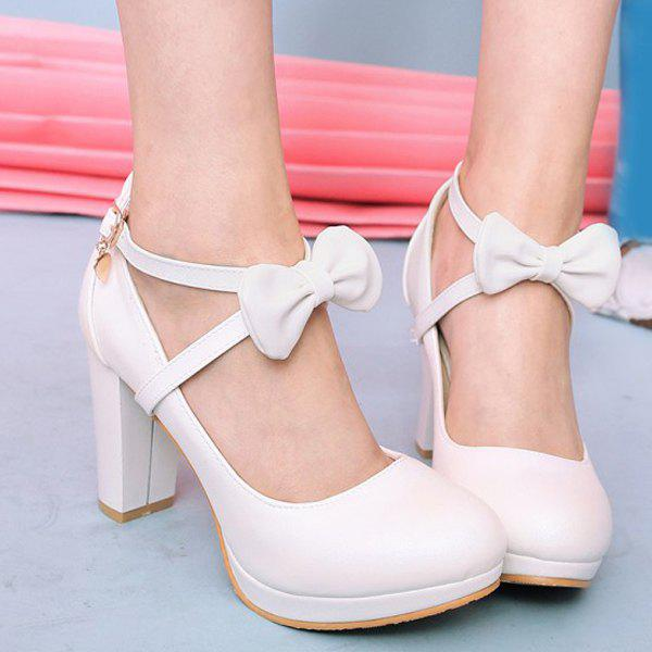 Ladylike Bow and Chunky Heel Design Women's Pumps - WHITE 39