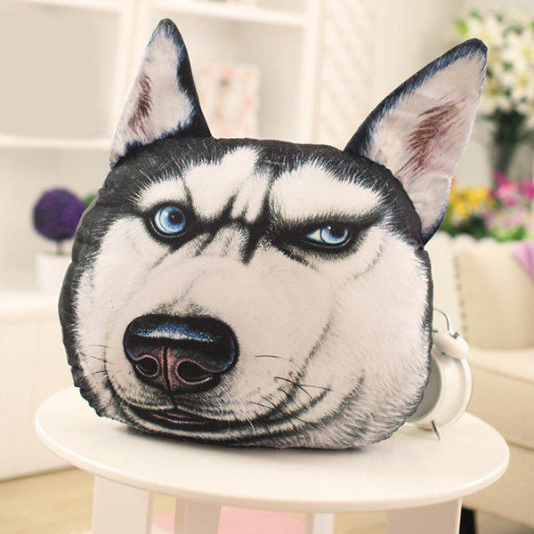 Novelty 3D Blue Eyes Huskie Home Decoration Dog Shape Design Pillow - WHITE/BLACK