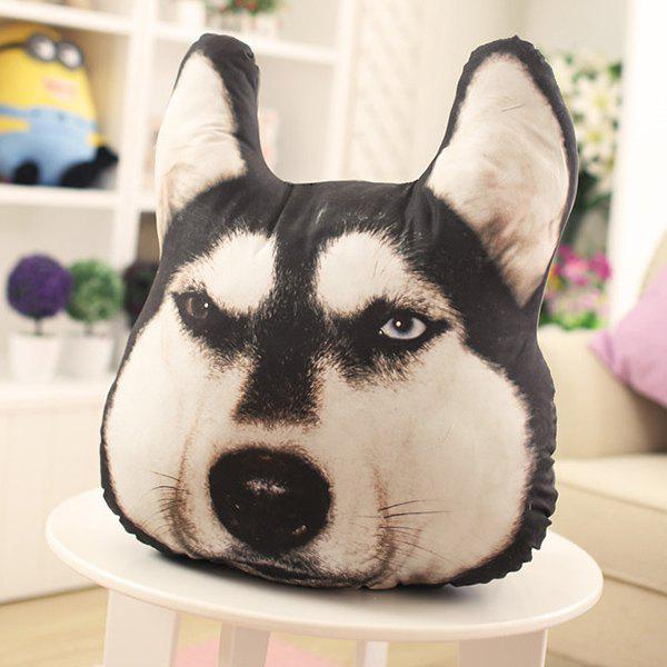 Novelty 3D Huskie Home Decoration Dog Shape Design Pillow - BLACK