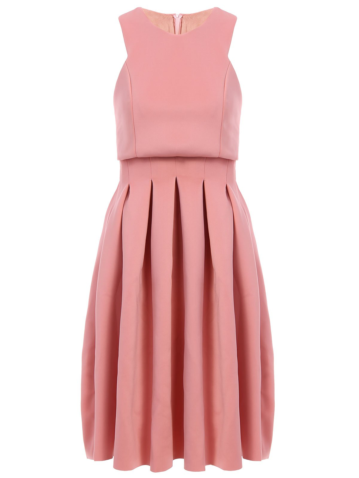 Stylish Women's Round Collar Sleeveless Pleated Dress - ORANGEPINK M