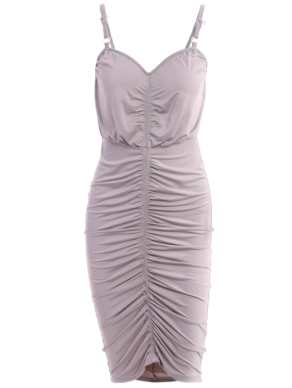 Casual Spaghetti Strap Ruched Bodycon Women's Dress - GRAY S