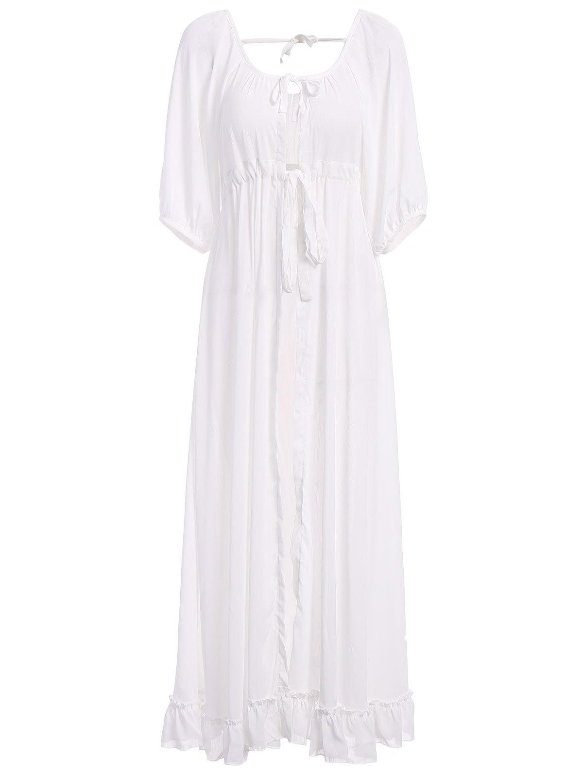 Stylish Women's Scoop Neck 1/2 Sleeve Drawstring Cover-Up Dress - M WHITE