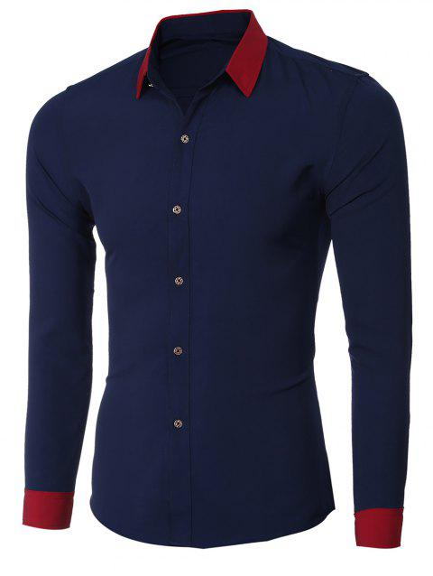 Color Block Splicing design col rabattu manches longues hommes  's Shirt - Cadetblue 2XL