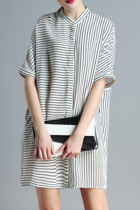 Stand Neck Striped Loose Fitting Dress - WHITE XL