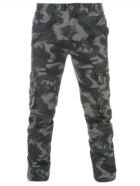 Slimming Camouflage Zipper Fly Straight Leg Men's Pants - GREEN 29