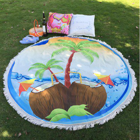 Tropical Bikini Boho Fringed Edge Coconut Tree Round Beach Throw Scarf Throw Yoga Mat - LIGHT BLUE