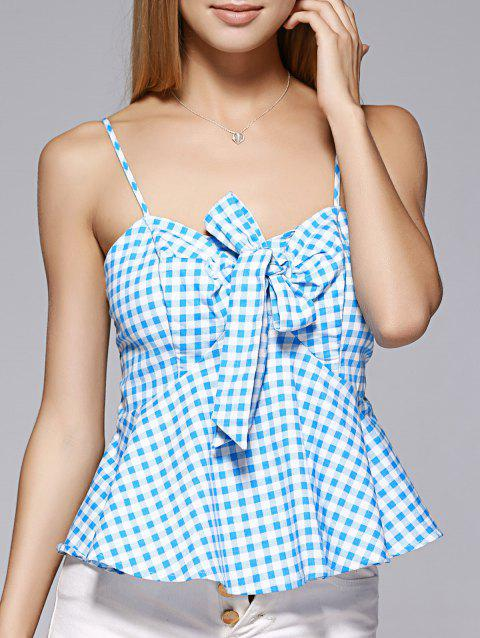 Fashionable Spaghetti Strap Bowknot Flounce Lattice Top For Woman - MEDIUM BLUE XL