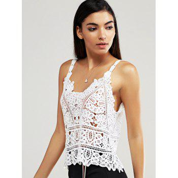Crochet Openwork Laciness Lady's Tank Top - WHITE ONE SIZE(FIT SIZE XS TO M)