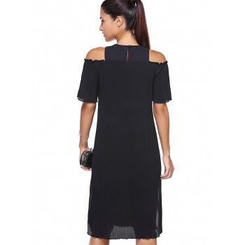 Stylish Round Neck Hollow Out High Slit Loose-Fitting Dress For Women - BLACK ONE SIZE(FIT SIZE XS TO M)