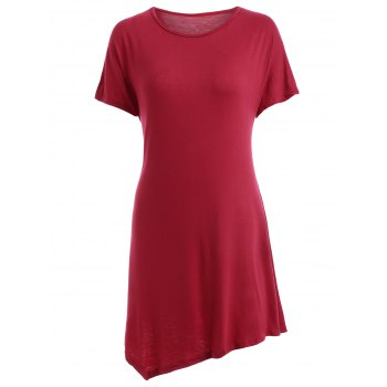 Stylish Women's Scoop Neck Short Sleeve Asymmetrical T-Shirt