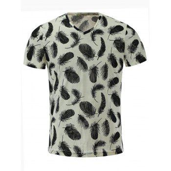 Short Sleeves V Neck Feather Printed T Shirt For Men