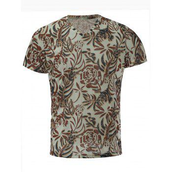 Men's Stylish Short Sleeves V-Neck Plant Printed T-Shirt