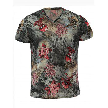 Short Sleeves V Neck Flower Printed T Shirt For Men