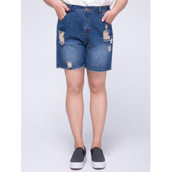 Stylish Plus Size High Waist Appliqued Ripped Women's Shorts - BLUE 4XL