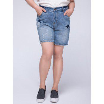Trendy Plus Size Appliqued Broken Hole Women's Shorts - BLUE L