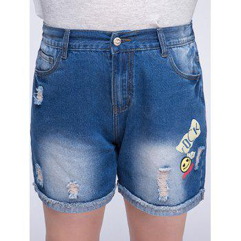 Chic Plus Size Ripped Smiling Face Pattern Women's Flanging Shorts