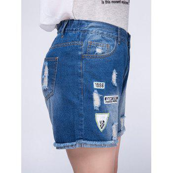 Stylish Plus Size Ripped Frayed Hem Embroidered Women's Shorts - BLUE BLUE