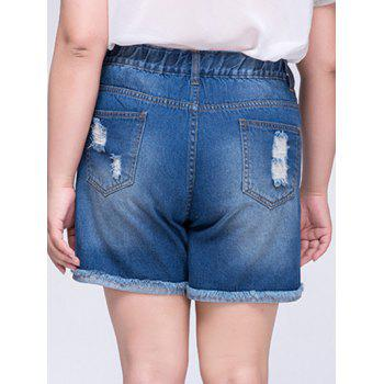 Stylish Plus Size Ripped Frayed Hem Embroidered Women's Shorts - L L