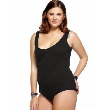 Plus Size Single Breasted One-piece Bodysuit - BLACK BLACK