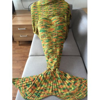 Super Soft Mixed Color Mermaid Tail Design Knitting Blanket For Adult