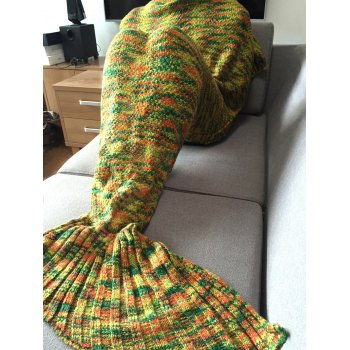 Super Soft Mixed Color Mermaid Tail Design Knitting Blanket For Adult -  COLORMIX