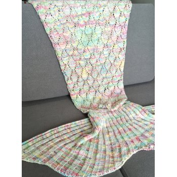 Chic Quality Colorful Hollow Out Mermaid Tail Design Knitting Blanket For Adult -  COLORMIX