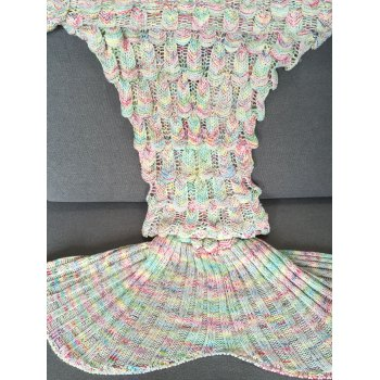Fashionable Fish Scale Shape Mermaid Tail Design Knitting Blanket For Adult -  COLORMIX