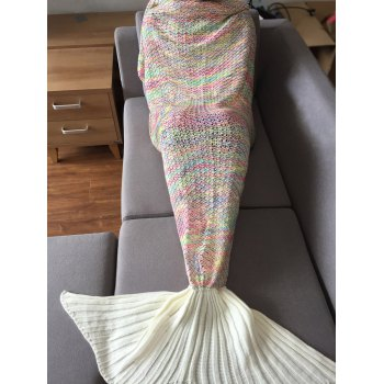 High Quality Colorful Crochet Knitting Mermaid Tail Design Sleeping Blanket For Adult -  COLORMIX