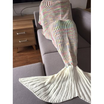 Stylish Stripe Design Mermaid Tail Shape Knitting Blanket For Adult - COLORMIX COLORMIX