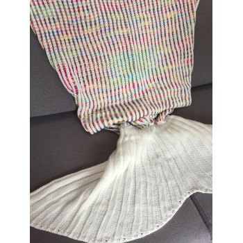 Stylish Stripe Design Mermaid Tail Shape Knitting Blanket For Adult -  COLORMIX