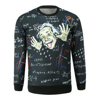 Men's Stylish Round Collar Einstein Printed Sweatshirt