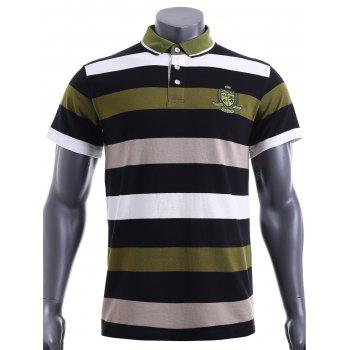 Slim Fit Stripe Short Sleeves Polo T-Shirt For Men - GREEN 2XL