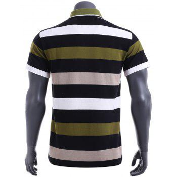 Slim Fit Stripe Short Sleeves Polo T-Shirt For Men - GREEN GREEN