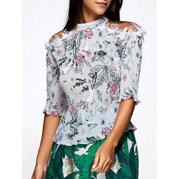 Chic Half Sleeve Floral Print Pleated Blouse