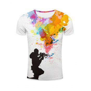 Buy Sniper Colorful Splatter Paint Printed T-Shirt COLORMIX