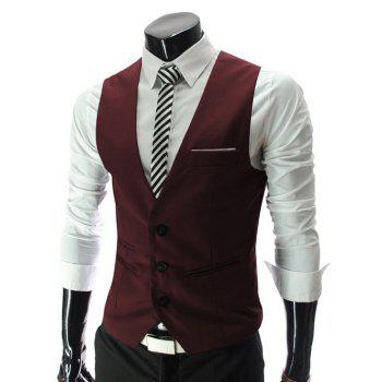 Single Breasted Edging Solid Color V-Neck Sleeveless Men's Waistcoat - RED L