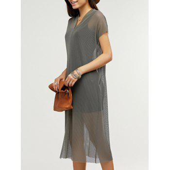 Simple Short Sleeve Airtex Slit Twinset Dress For Women