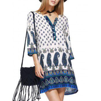 Paisley Print Mini Tunic Shift Bohemian Dress