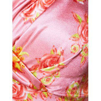 Vintage Women's Strappy Floral Print High-Waisted Dress - PINK L