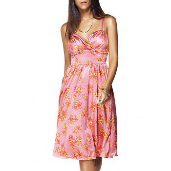 Vintage Women's Strappy Floral Print High-Waisted Dress